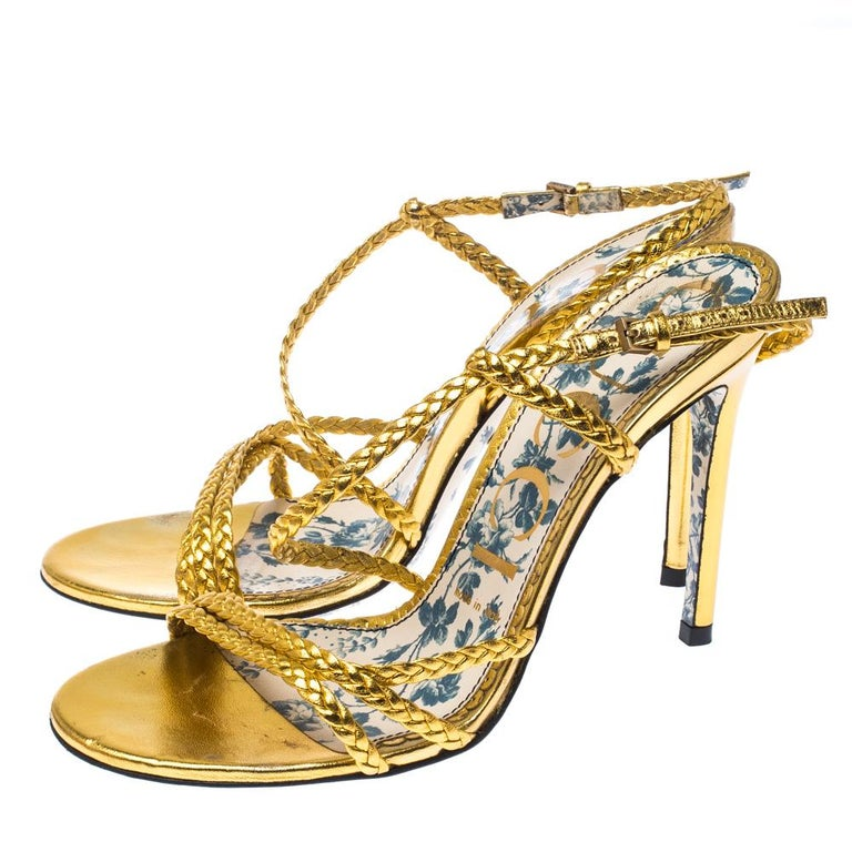 Gucci Metallic Gold Leather Haines Braided Slingback Sandals Size 37 For Sale 3