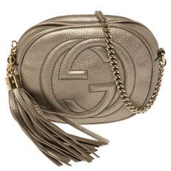 Gucci Metallic Gold Leather Mini Soho Disco Chain Crossbody Bag