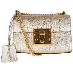 GUCCI metallic gold leather PADLOCK SMALL Crossbody Shoulder Bag