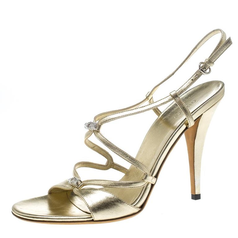011bb57ed Gucci Metallic Gold Leather Slingback Sandals Size 40 For Sale at ...