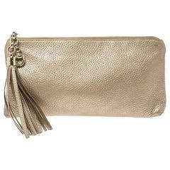 Gucci Metallic Gold Leather Small Sienna Tassel Clutch