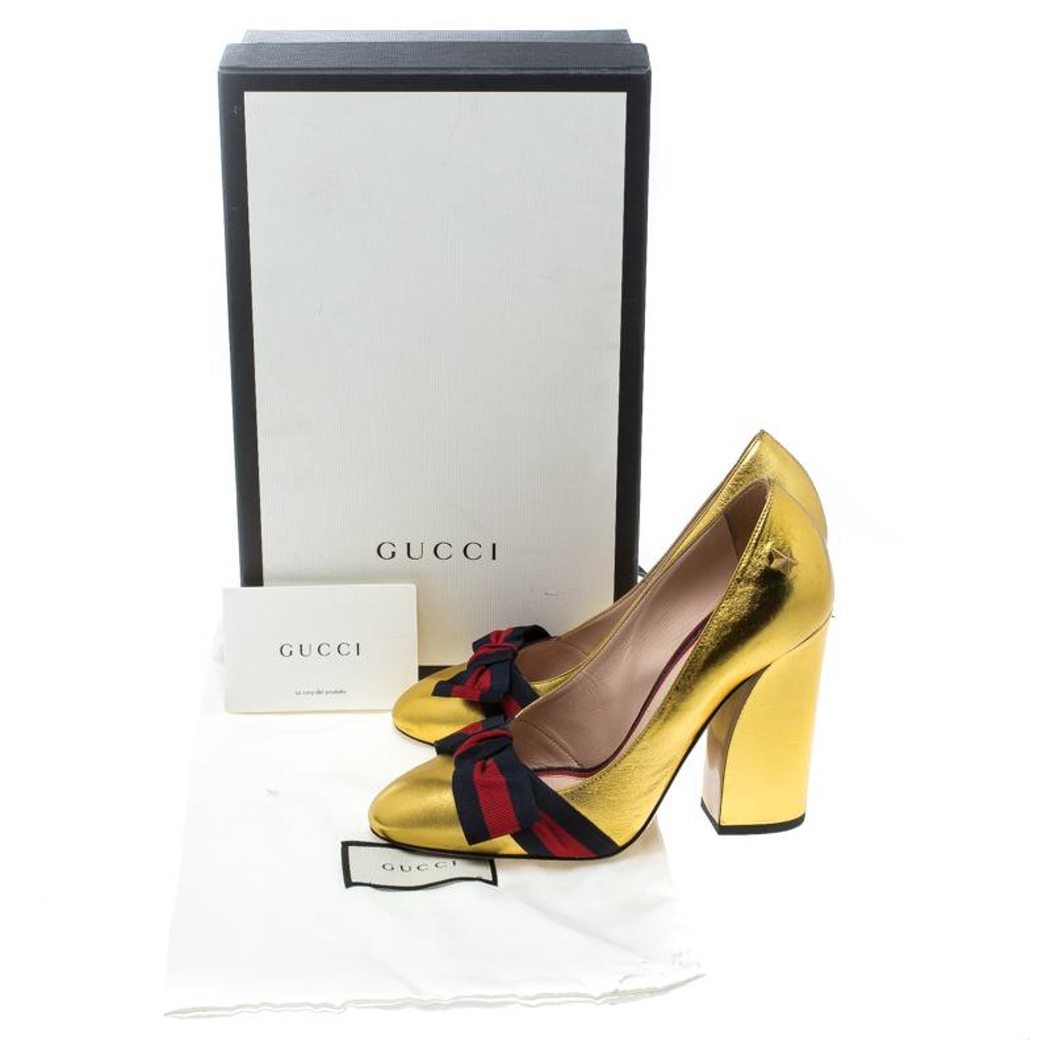 fb6284f810a Gucci Metallic Gold Leather Web Bow Detail Pumps Size 37.5 For Sale at  1stdibs