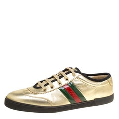 Gucci Metallic Gold Leather Web Detail Sneakers Size 38.5