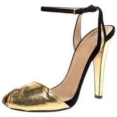 Gucci Metallic Gold Leather With Suede Ankle Strap Peep Toe Sandals Size 40