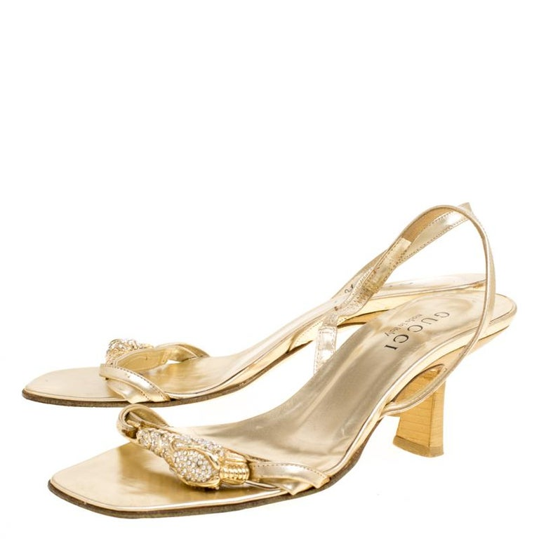 afd6de4d7 Gucci Metallic Gold Open Toe Slingback Sandals Size 36 In Good Condition  For Sale In Dubai