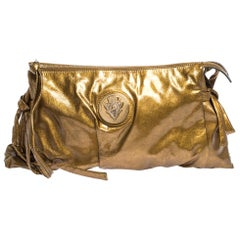 Gucci Metallic Gold Patent Leather Large Hysteria Clutch