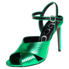 Gucci Metallic Green Leather Betsy Ankle Strap Sandals Size 36.5