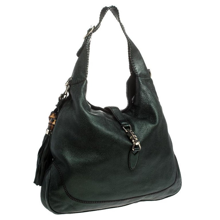Women's Gucci Metallic Green Leather Large New Jackie Hobo For Sale