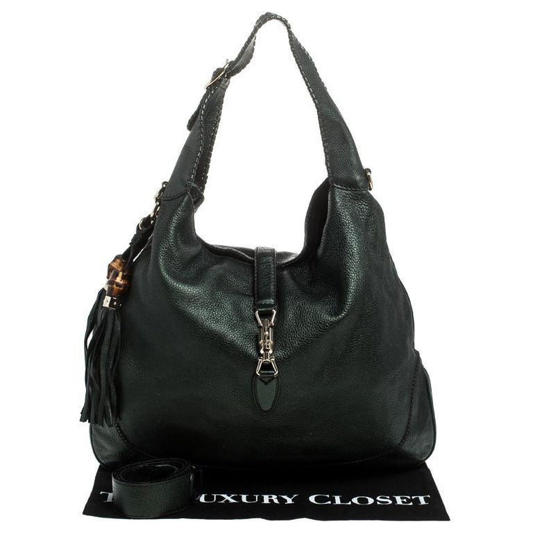Gucci Metallic Green Leather Large New Jackie Hobo For Sale 1