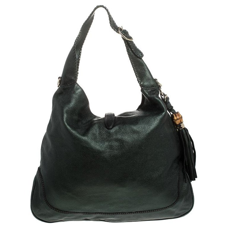 Gucci Metallic Green Leather Large New Jackie Hobo For Sale 2
