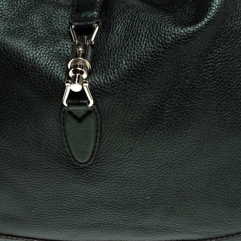 Gucci Metallic Green Leather Large New Jackie Hobo For Sale 4