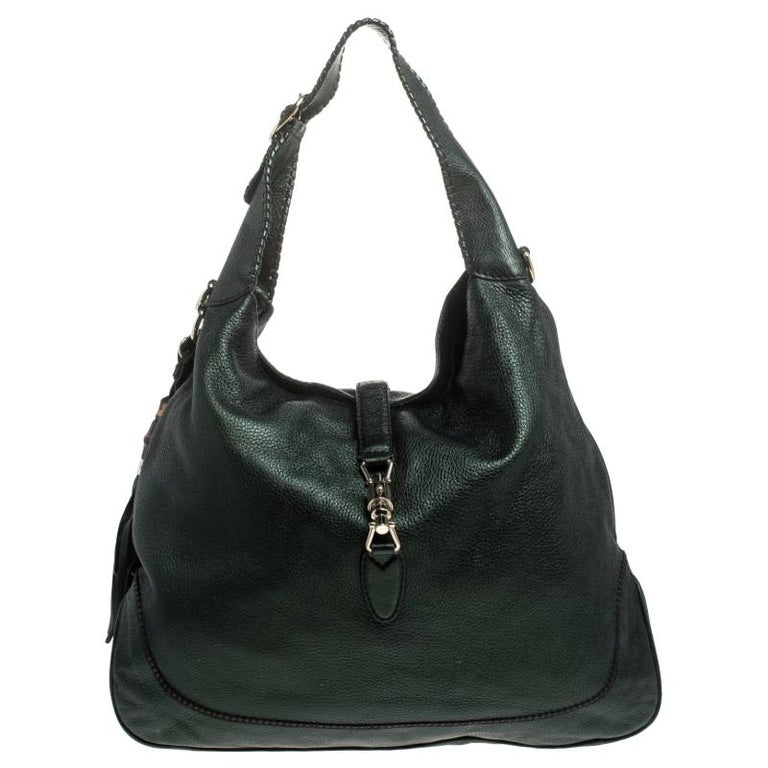 Gucci Metallic Green Leather Large New Jackie Hobo For Sale