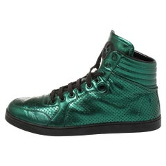 Gucci Metallic Green Perforated Leather Coda High Top Sneaker Size 42