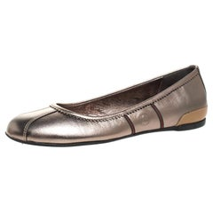 Gucci Metallic Grey And Tan Leather Ballet Flats Size 38
