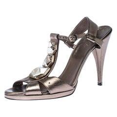 Gucci Metallic Grey Crystal Embellished T Strap Sandals Size 36.5