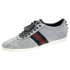 Gucci Metallic Grey Glitter Suede Web Low Top Sneakers Size 40