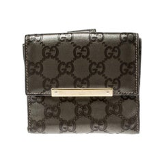 Gucci Metallic Grey Guccissima Leather Compact Wallet