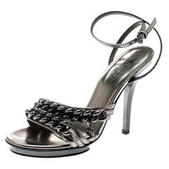 Gucci Metallic Grey Leather GG Chain Detail Ankle Wrap Sandals Size 34