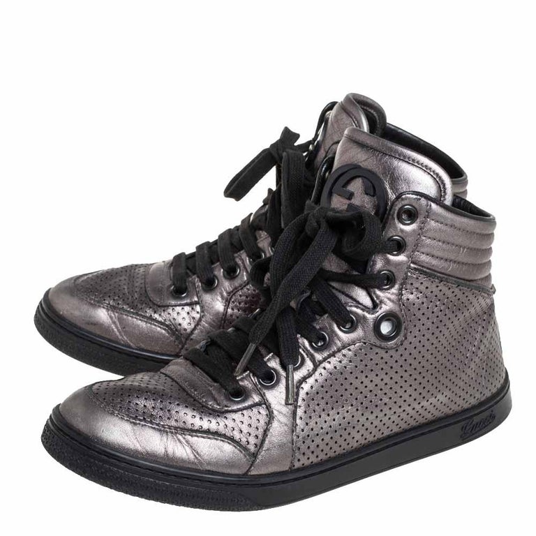Black Gucci Metallic Grey Leather High-Top Sneakers Size 37 For Sale