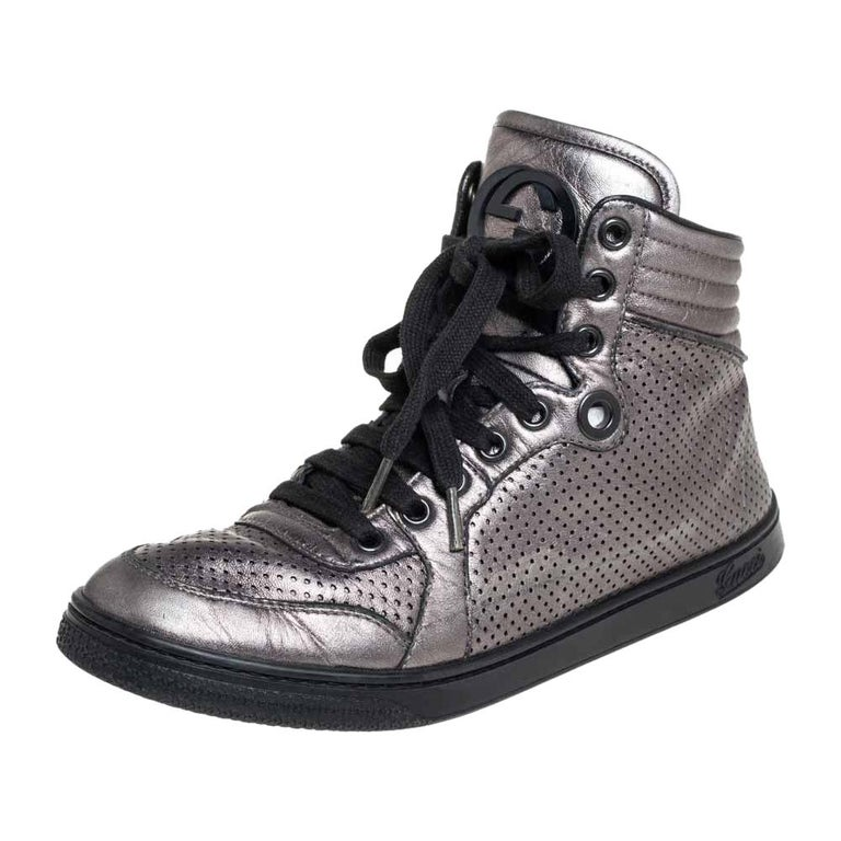 Gucci Metallic Grey Leather High-Top Sneakers Size 37 For Sale