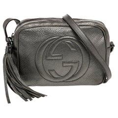 Gucci Metallic Grey Leather Small Soho Disco Crossbody Bag