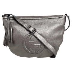 Gucci Metallic Grey Leather Soho Small Messenger Bag