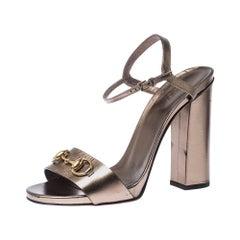 Gucci Metallic Leather Horsebit Ankle Strap Block Heel Sandals Size 40