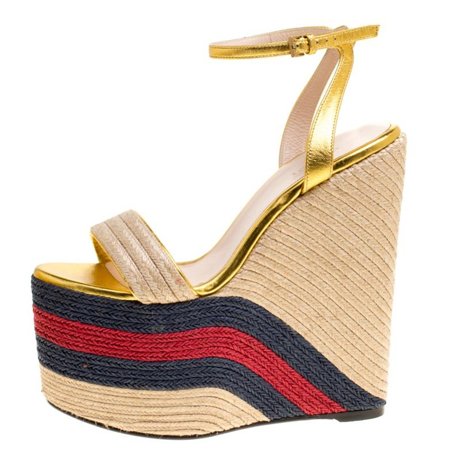8864d760930e Gucci Metallic Leather Web Platform Ankle Strap Espadrille Wedge Sandals  Size 37 For Sale at 1stdibs