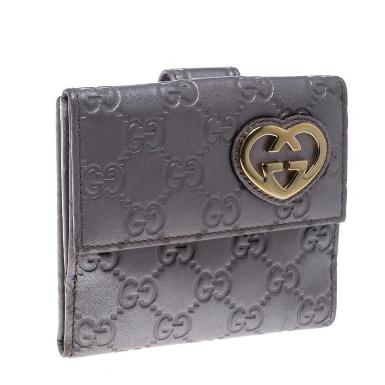 fbb5339c87d8 Gucci Metallic Lilac Guccissima Leather Heart Interlocking GG French Wallet  For Sale 5