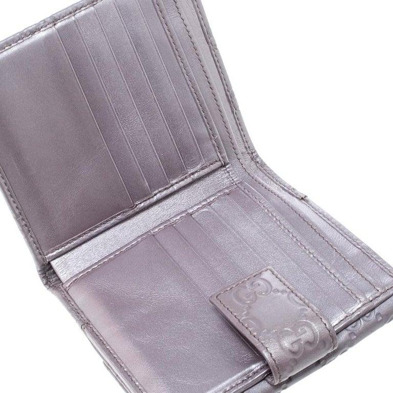 7672e725fd2b Gray Gucci Metallic Lilac Guccissima Leather Heart Interlocking GG French  Wallet For Sale