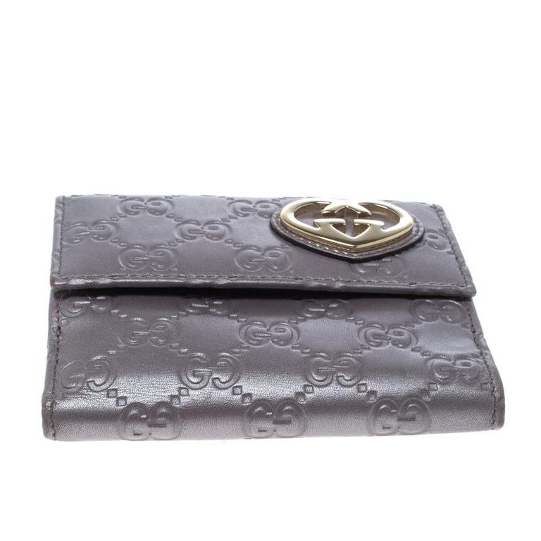 46bc99f6bece Gucci Metallic Lilac Guccissima Leather Heart Interlocking GG French Wallet  For Sale 1