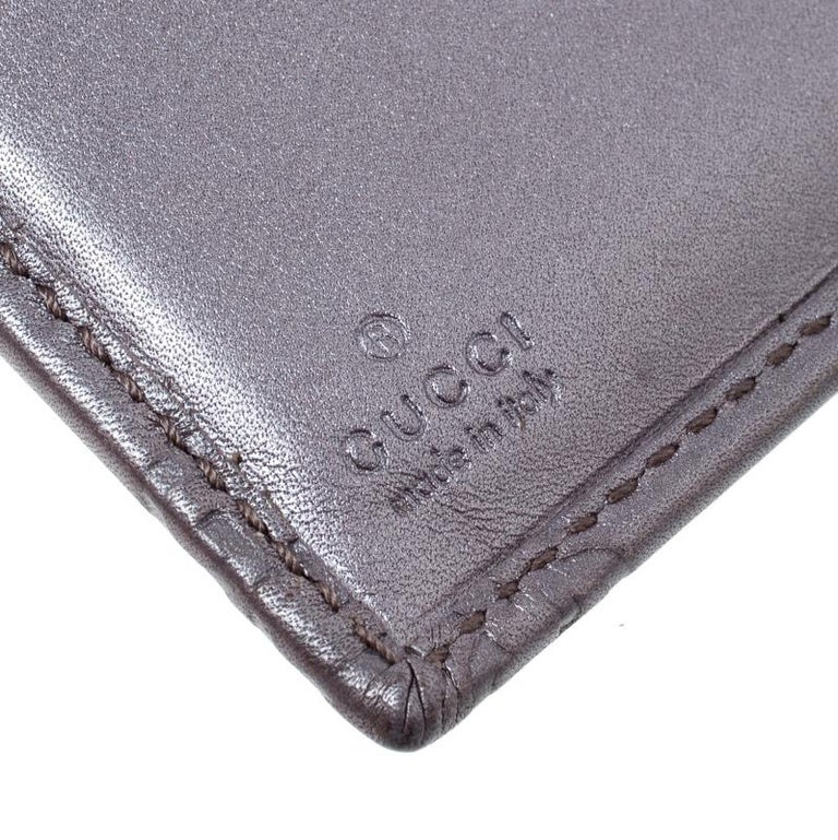 0b8530a85d63 Gucci Metallic Lilac Guccissima Leather Heart Interlocking GG French Wallet  For Sale 2