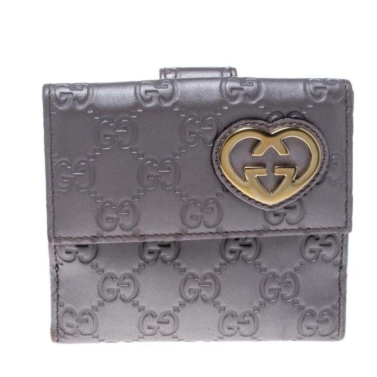7e45f76522be Gucci Metallic Lilac Guccissima Leather Heart Interlocking GG French Wallet  For Sale
