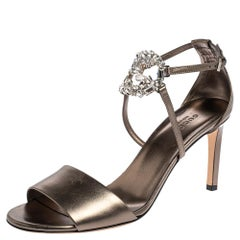Gucci Metallic Olive Green Leather Crystal GG Ankle Strap Sandals Size 39