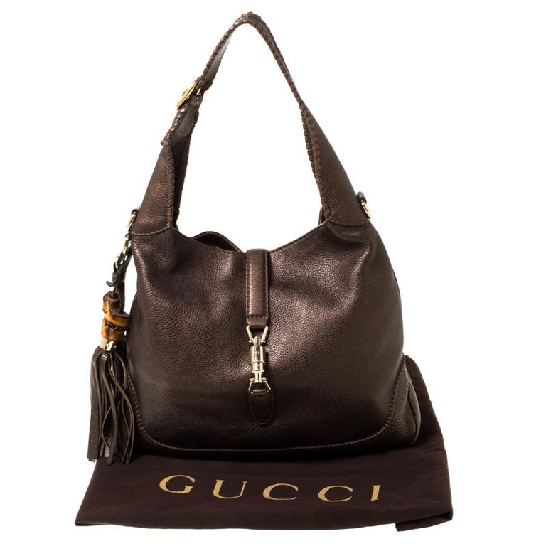 Gucci Metallic Olive Green Leather Medium Jackie Hobo For Sale 7