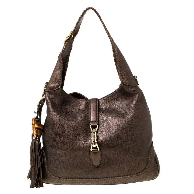 Gucci Metallic Olive Green Leather Medium Jackie Hobo For Sale