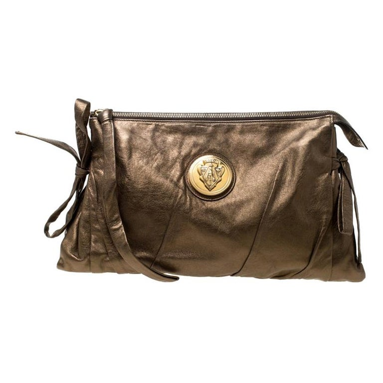 Gucci Metallic Olive Leather Large Hysteria Clutch For Sale