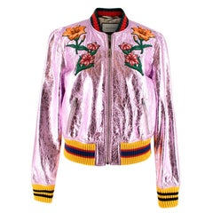 Gucci Metallic Pink Embroidered Bomber Jacket L 46