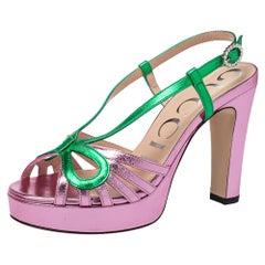 Gucci Metallic Pink/Green Leather Platform Slingback Sandals Size 36