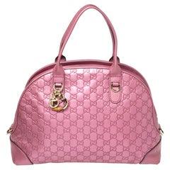 Gucci Metallic Pink Leather Medium Guccissima Heart Bit Top Handle Dome Bag