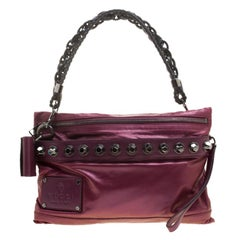 Gucci Metallic Pink Leather Studded Shoulder Bag