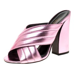 Gucci Metallic Pink Leather Sylvia Crossover Mules Size 37