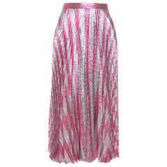 Gucci Metallic Pink Striped Pleated Midi Skirt M