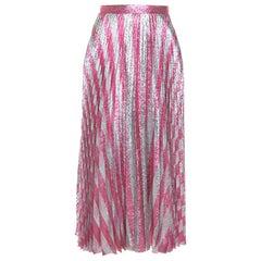 Gucci Metallic Pink Striped Pleated Midi Skirt M