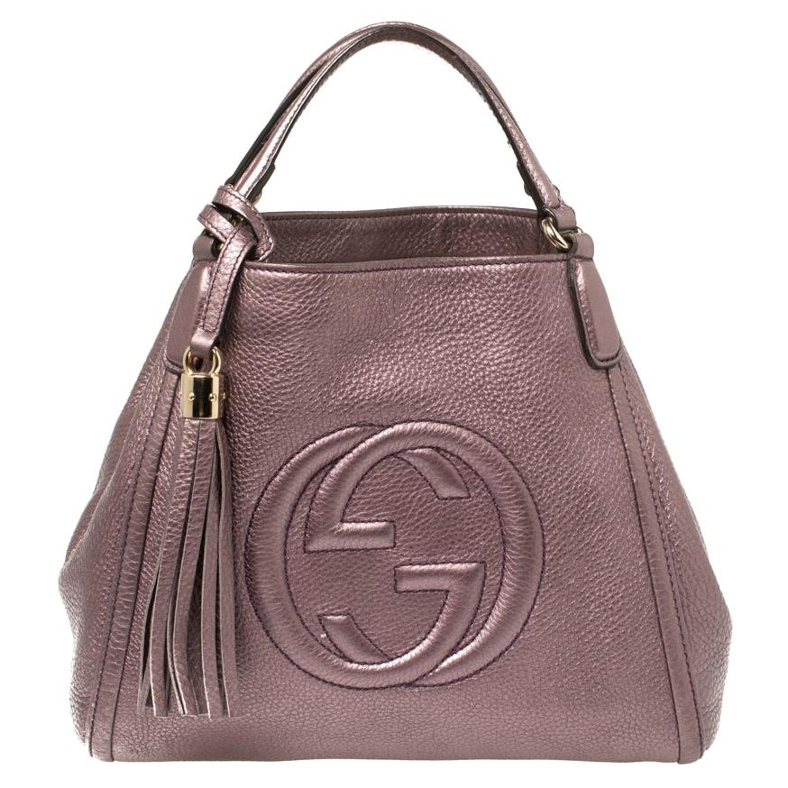 Gucci Metallic Purple Pebbled Leather Soho Tote