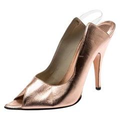 Gucci Metallic Rose Gold Leather Peep Toe Backstrap Sandals Size 37.5