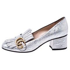 Gucci Metallic Silver Foil Leather GG Marmont Fringe Detail Block Heel Pumps Siz