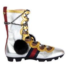 GUCCI metallic silver & gold TITAN Gladiator Sneakers Shoes 38