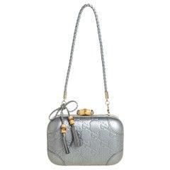 Gucci Metallic Silver Guccissima Leather Broadway Bamboo Lock Clutch