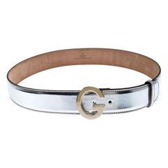 Gucci Metallic Silver Patent Leather G Buckle Belt 95CM